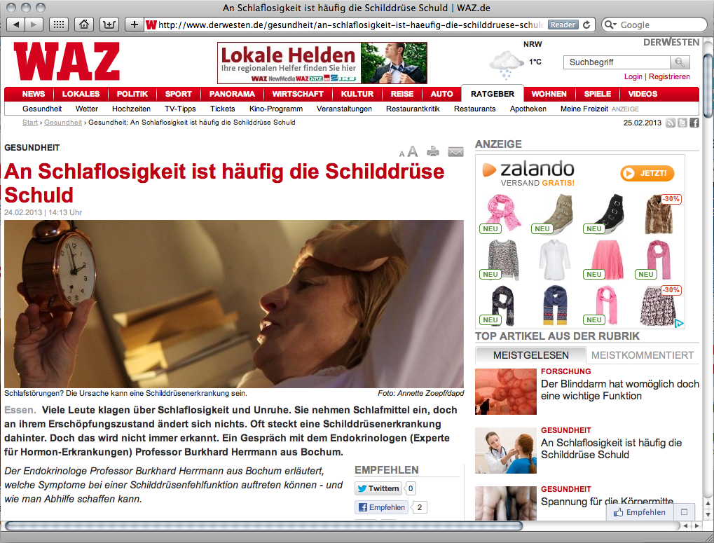 Endo_Aktuelles_Interview_WAZ-derwesten_Schlaflosigkeit-Schilddruesenerkrankungen